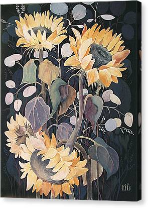 Canvas Print featuring the painting Sunflowers' Symphony by Marina Gnetetsky