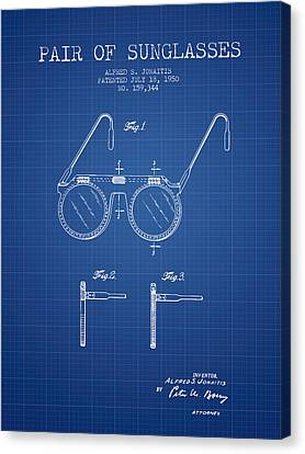 Sunglasses Patent From 1950 - Blueprint Canvas Print