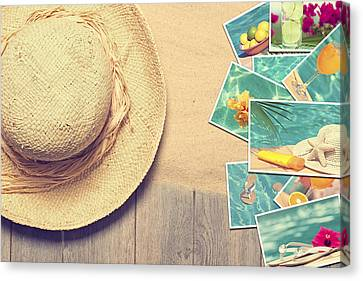 Sunhat And Postcards Canvas Print by Amanda Elwell