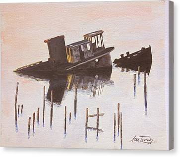 Canvas Print featuring the painting Sunken Boat by Stan Tenney