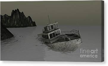 Canvas Print featuring the digital art Sunken Boat by Susanne Baumann
