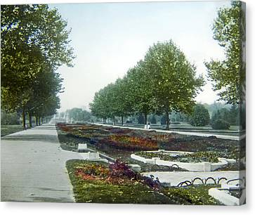 Canvas Print featuring the photograph Sunken Gardens Fairmount Park Philadelphia 1907 by A Gurmankin