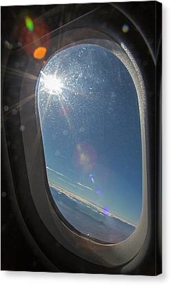 Sunlight Flare In Aircraft Window Canvas Print