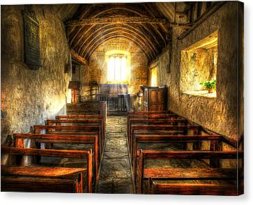 Sunlight Flooding The Ancient Chapel Canvas Print by Mal Bray