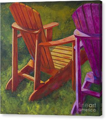Sunlight On Adirondack Chairs  Canvas Print by Arthur Witulski
