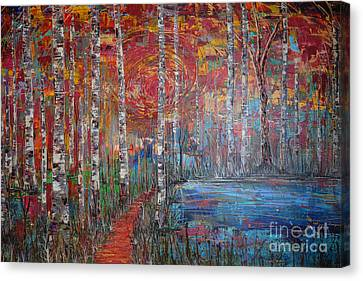 Sunlit Birch Pathway Canvas Print