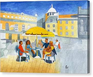 Sunlit Cafe Scene Canvas Print by Bav Patel