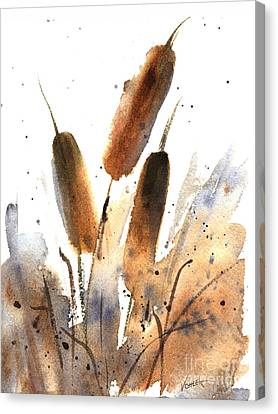 Sunlit Cattails Canvas Print