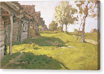 Sunlit Day  A Small Village Canvas Print by Isaak Ilyich Levitan
