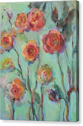 Canvas Print featuring the painting Sunlit Garden by Mary Wolf