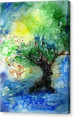 Canvas Print featuring the painting Sunlit Olive Tree In Skiathos  by Trudi Doyle