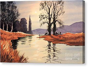 Sunlit River - Chess At Latimer Canvas Print by Bill Holkham