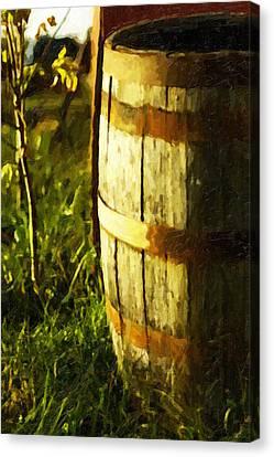 Sunlit Wooden Barrel-three Canvas Print by David Allen Pierson