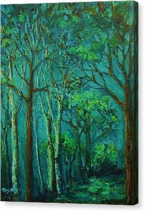 Sunlit Woodland Path Canvas Print