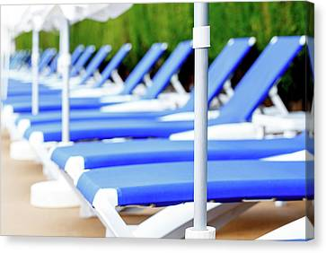 One Point Perspective Canvas Print - Sunloungers In A Row by Wladimir Bulgar