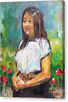Sunni In Garden Canvas Print by Becky Kim