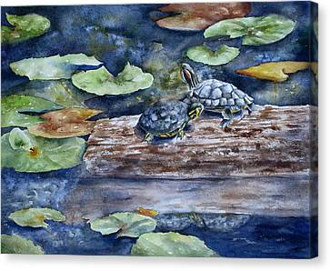 Canvas Print featuring the painting Sunning Sliders by Mary McCullah
