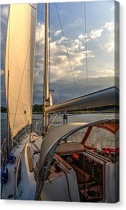 Sunny Afternoon Inland Sailing In Poland 2 Canvas Print by Julis Simo