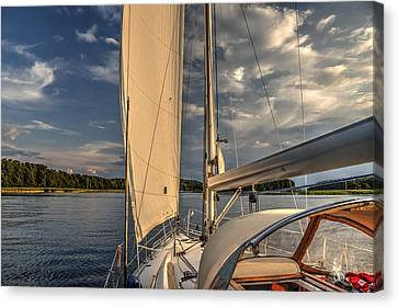 Sunny Afternoon Inland Sailing In Poland Canvas Print by Julis Simo
