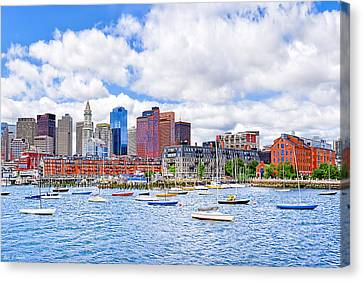 Sunny Afternoon On Boston Harbor Canvas Print by Mark E Tisdale