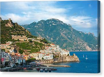 Sunny Amalfi City Canvas Print
