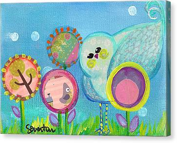 Sunny Birdy And The Dandies Canvas Print by Shelley Overton