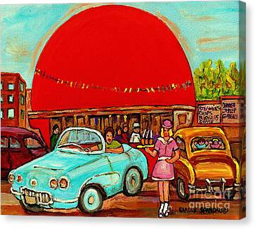 Sunny Day At The Big Orange Julep  Montreal Road Side Diner Carole Spandau Canvas Print