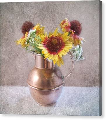Canvas Print featuring the photograph Sunny Treasure Flowers In A Copper Jug by Louise Kumpf