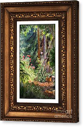 Sunny Garden In Vintage Frame Canvas Print