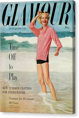 Sunny Harnett On The Cover Of Glamour Canvas Print by Leombruno-Bodi