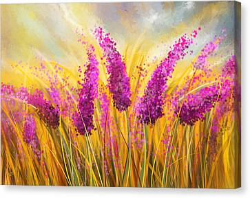 Sunny Lavender Field - Impressionist Canvas Print by Lourry Legarde