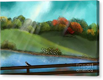 Sunny Meadow By The Water Canvas Print by Nancy Long