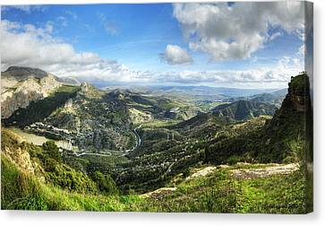 Canvas Print featuring the photograph Sunny Mountains View With Picturesque Clouds by Julis Simo