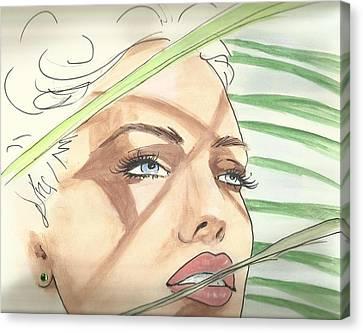 Sunny Palms Canvas Print by P J Lewis