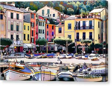 Sunny Portofino - Italy Canvas Print by Linda  Parker