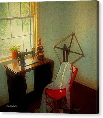 Sunny Sewing Room Canvas Print by RC deWinter