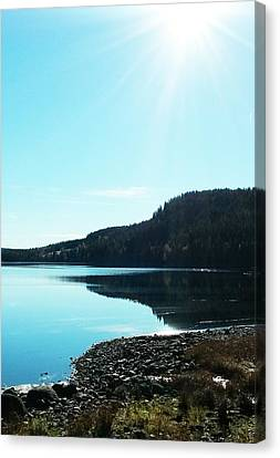 Sunny Sky By The Lake Canvas Print