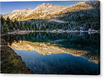 Sunny Tops And Icy Skirts At Gold Creek Pond Canvas Print by Brian Xavier
