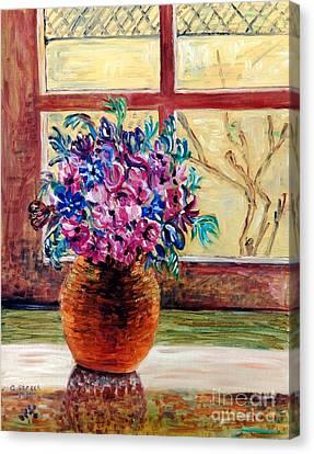 Sunny Window Ledge Canvas Print by Caroline Street