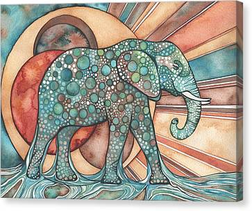 Canvas Print featuring the painting Sunphant Sun Elephant by Tamara Phillips