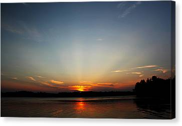 Sunrays At Sunset Canvas Print by James Hammen