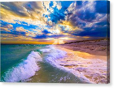 Canvas Print featuring the photograph Sunrays Breaking Over Blue Sea-destin Florida Sunset by eSzra