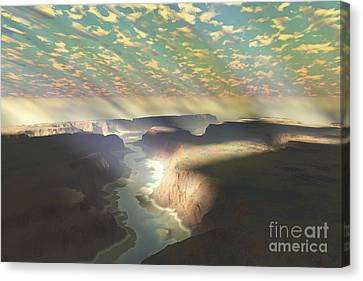 Sunrays Shine Down On Mist Canvas Print by Corey Ford