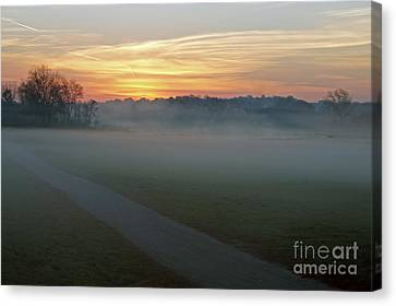 Sunrise Across The Fog Path Canvas Print