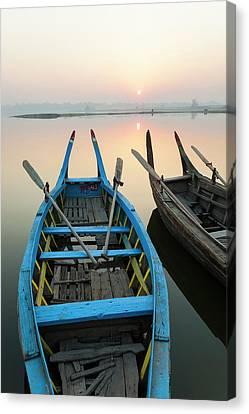 Rowboat Canvas Print - Sunrise, Amarapura, Mandalay, Burma by Peter Adams