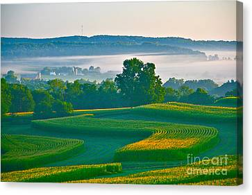 Sunrise And Morning Fog Canvas Print
