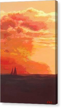 Sunrise And Sails Emerald Isle North Carolina Canvas Print
