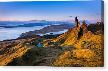 Sunrise And The Moon Over The Old Man Of Storr Canvas Print