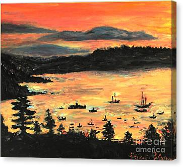 Sunrise At Bar Harbor Maine Canvas Print by Helena Bebirian