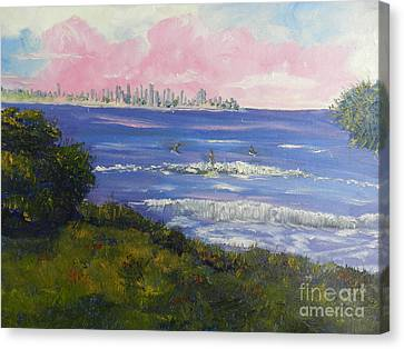 Sunrise At Burliegh Heads Canvas Print by Pamela  Meredith